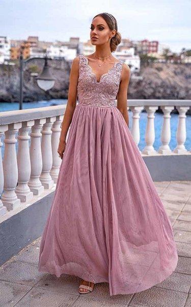 Vestito lungo elegante, rosa - Con spacco - Vestiti da cerimonia - Gogolfun.it