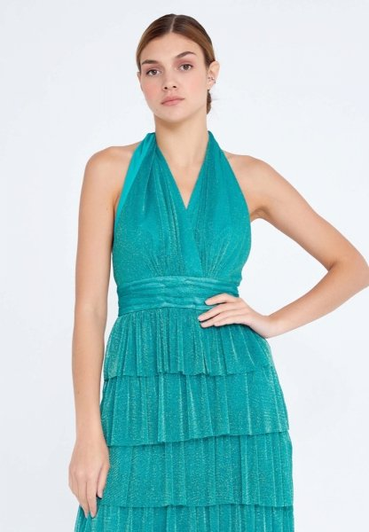 Vestito elegante lungo - Verde - Brillantinato