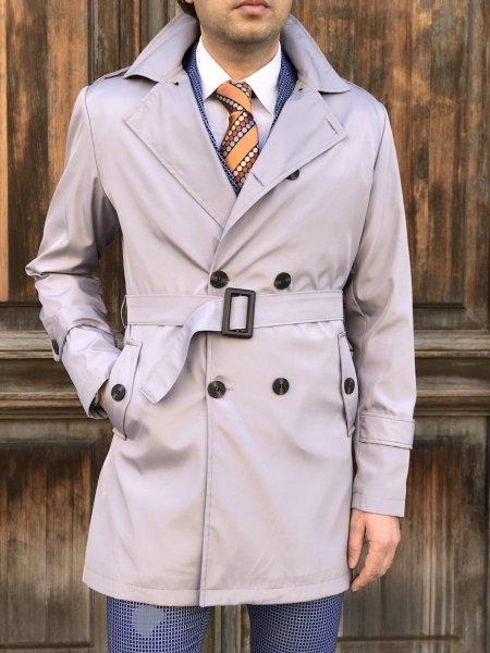 Trench uomo grigio, chiaro - Doppiopetto - Abbigliamento online Gogolfun.it