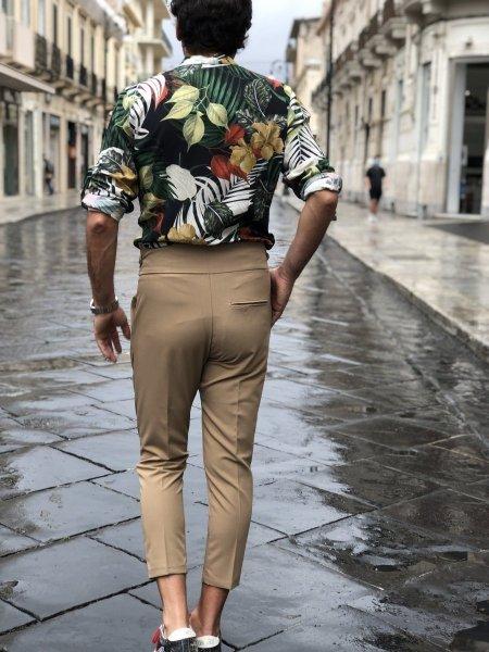 Beżowe spodnie męskie - Spodnie męskie z wysokim stanem - Gogolfun.it