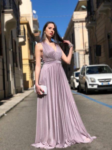 Suknia wieczorowa, długa – Kolor Liliowy - Odkryte plecy - Suknie wieczorowe - Gogolfun.pl