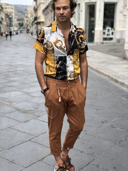 Camicia uomo disegno Versace, mezza manica - Gogolfun.it