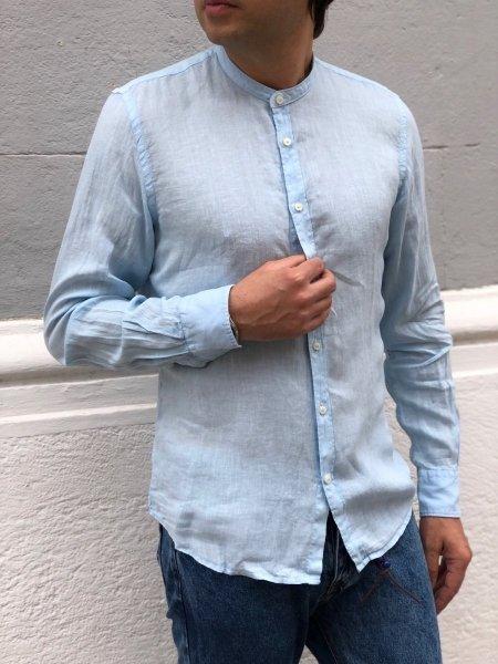 Camicia di lino, celeste - Collo coreana - Key Jey - Abbigliamento on line - Gogolfun.it