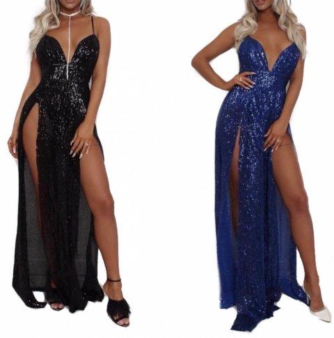Vestito lungo elegante - Con paillettes - Colore blu o nero - gogolfun.it