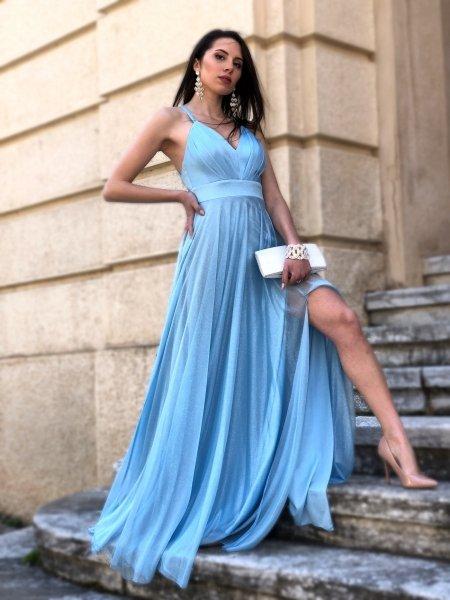 Vestito azzurro, con spacco - Cerimonia donna - Vestiti eleganti -  Gogolfun.it