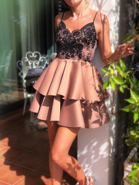 Vestito corto elegante - A palloncino - Beige e nero - Vestiti corti - Gogolfun.it