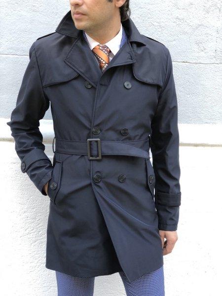 Trench blu - Doppiopetto - Con cintura - Abbigliamento uomo - Gogolfun.it