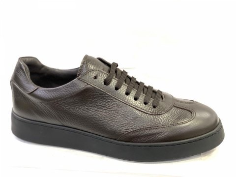 Sneakers, in pelle marroni - Scarpe uomo, Vera Pelle - Gogolfun.it