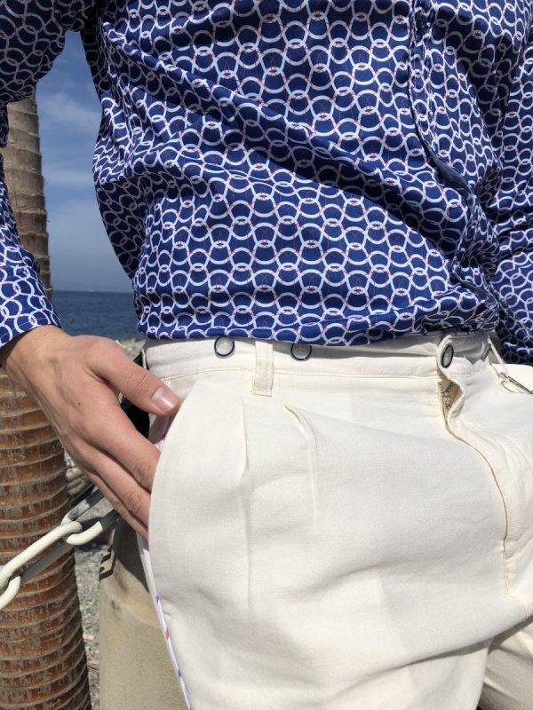 Camicia uomo slim - Camicia blu a fantasia