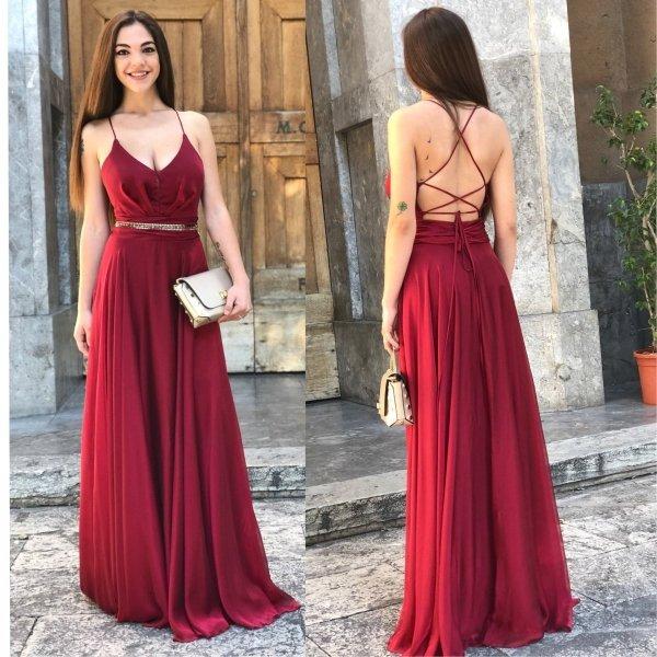 Abito lungo - Abito rosso - Vestito Cerimonia donna - Gogolfun.it
