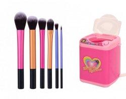 Pędzle do makijażu 6 sztuk + Pralka do mycia pędzli kosmetycznych
