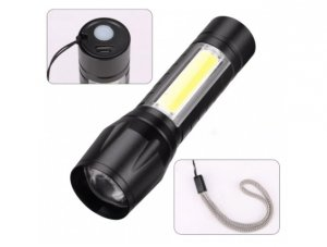 Latarka taktyczna LED COB XPE akum microUSB 9,3cm