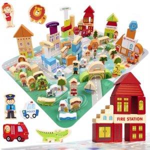 Klocki drewniane edukacyjne miasto puzzle 120el.