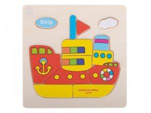Układanka drewniana dopasuj kształty statek