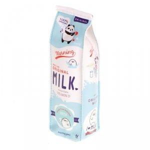Piórnik szkolny saszetka tuba kartonik mleka niebieski