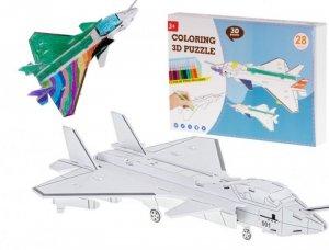 Puzzle 3D kolorowanka samolot 28el.
