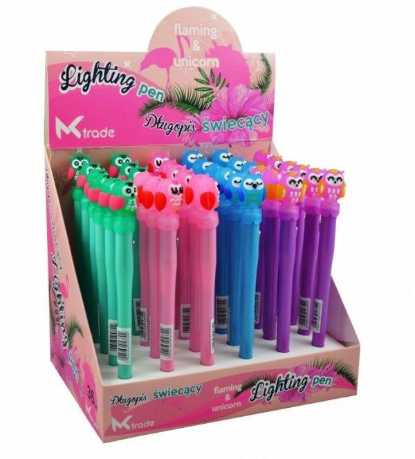 Długopis szkolny świecący LED sowa