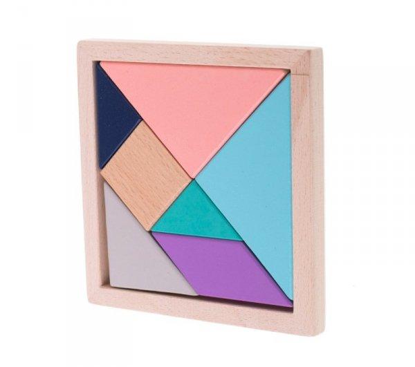 Puzzle drewniane układnka logiczna klocki tangram