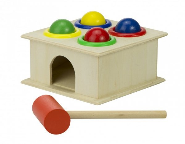 Zabawka drewniana wbijanka + młotek montessori