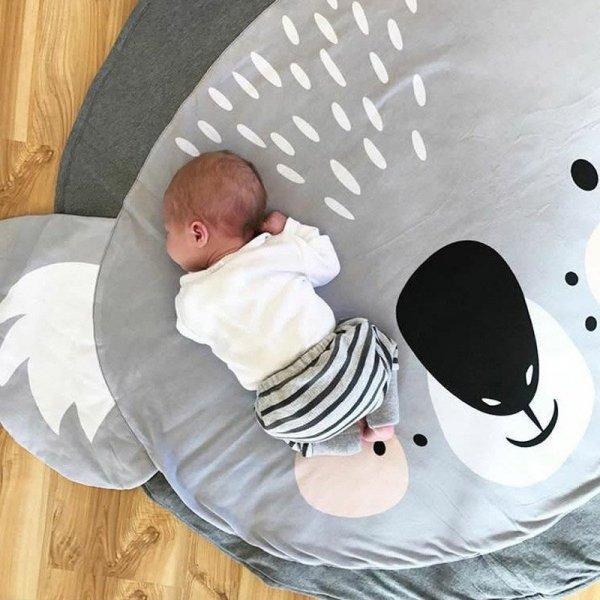 Mata dla dziecka okrągła szara koala 85cm
