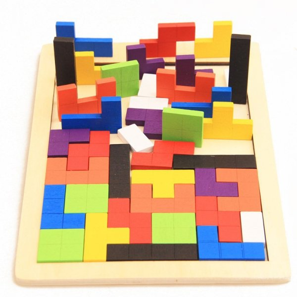 Puzzle drewniane układanka tetris klocki 40el.