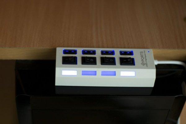 Hub USB High Speed z wyłącznikami 4 gniazda LED