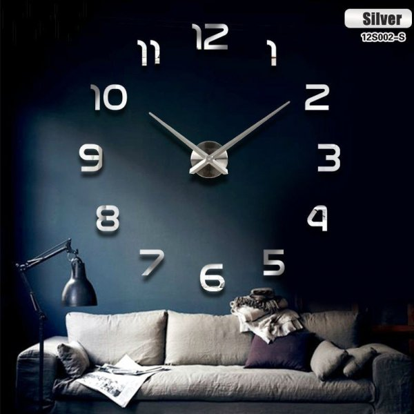Zegar ścienny duży 80-120cm srebrny 12 cyfr