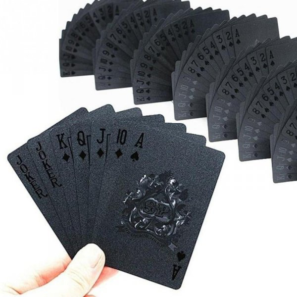 Karty do gry plastikowe czarne