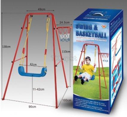 Huśtawka + Kosz do gry z piłką na metalowej ramie
