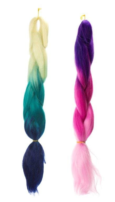 Włosy syntetyczne tęczowe ombre blond-granat-niebi