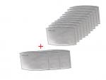 10 podwójnych  filtrów PM2.5 + 2 gratis (do maski dla dzieci)