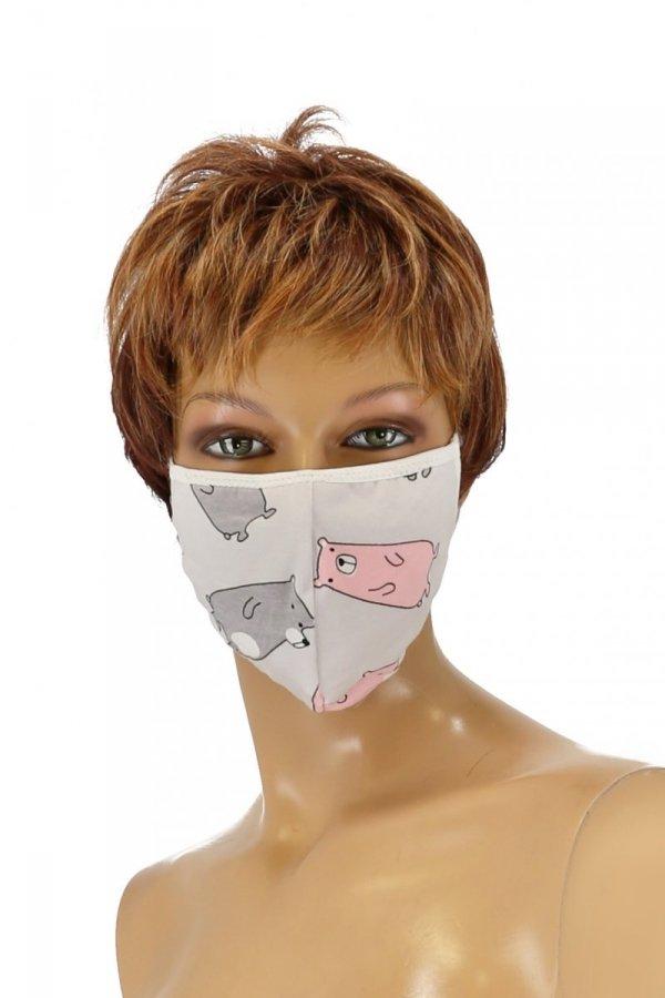 maska z kieszonką na filtr wzór misie