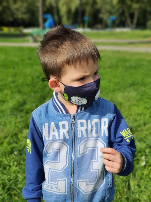antysmogowa sportowa, maseczka z kieszonką na filtr dla dzieci