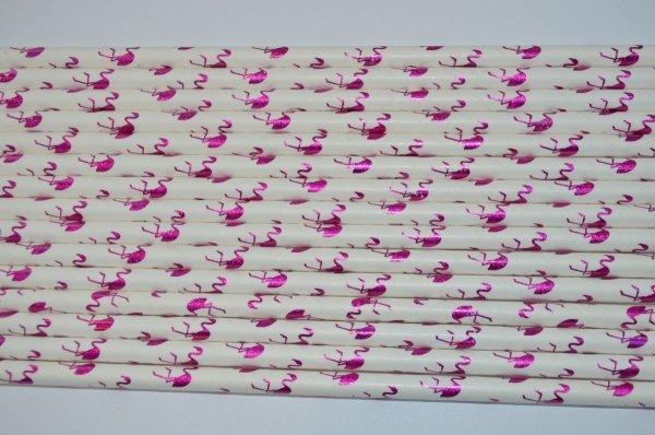 Ekologiczne słomki papierowe PREMIUM 6 mm x 197mm  flaming różowy