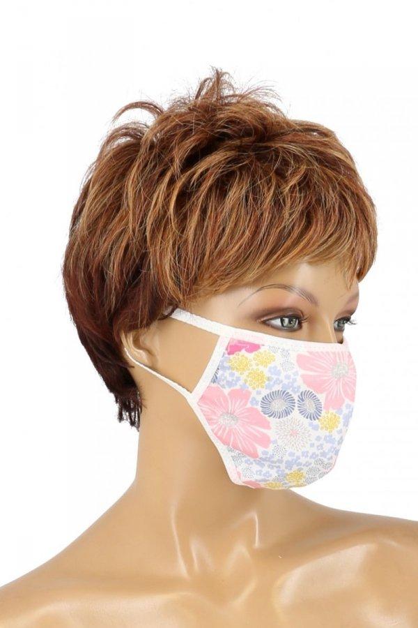 maska z kieszonką na filtr kwiaty