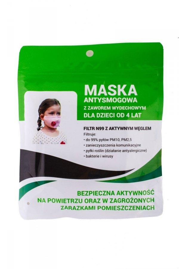 Maska antysmogowa dla dzieci 'różowy miś' +2 filtry PM 2.5