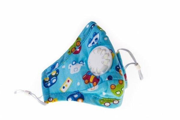 Maska przeciwpyłowa dla dzieci 'samochody' +2 filtry