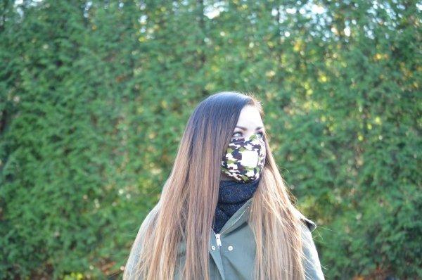 Maska przeciwpyłowa bawełniana z filtrami PM 2.5 dla dorosłych moro