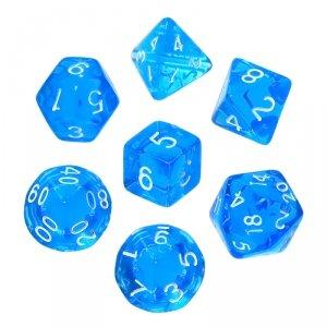 Komplet kości REBEL RPG - Mini Kryształowe - Niebieskie
