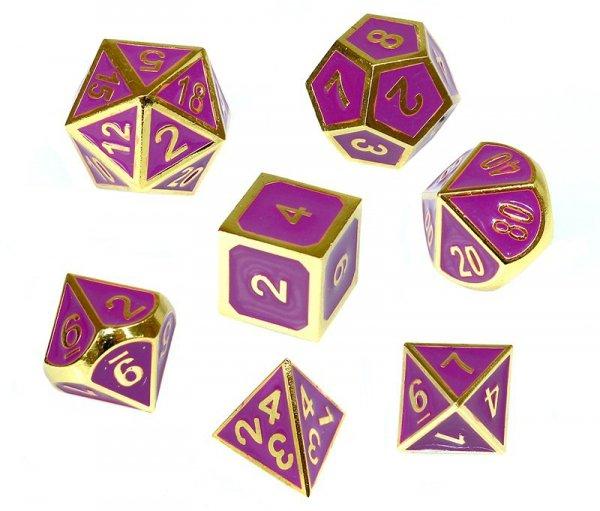 Komplet kości REBEL RPG - Metal - Tłoczona złocona purpura