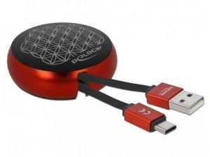 Kabel adapter Delock USB type-C - USB-A M/M 2.0 0,92m szpula czarno-czerwony