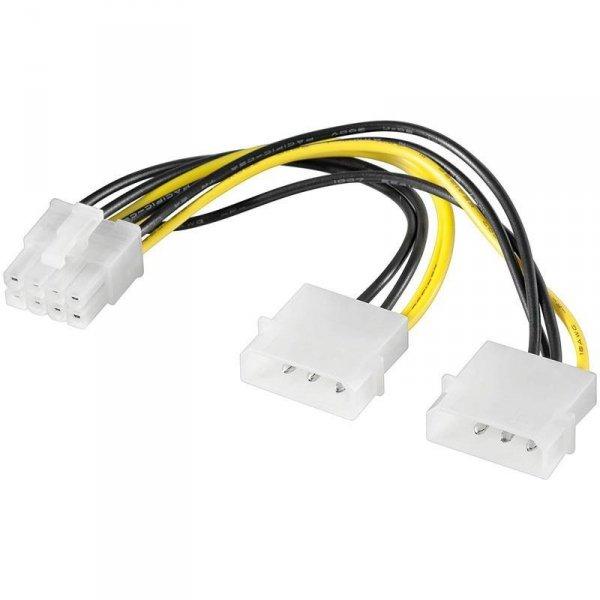 Kabel adapter Akyga AK-CA-29 2x Molex (M) - PCI-Express 8 pin (M) 0,15m