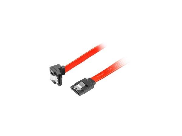 Kabel SATA Lanberg DATA II (3Gb/s) F/F 1m kątowy metalowe zatrzaski czerwony