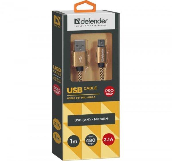 Kabel USB Defender AM-micro BM 1m 2.1A złoty