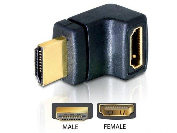 Adapter Delock HDMI- HDMI M/F kątowy prawy czarny