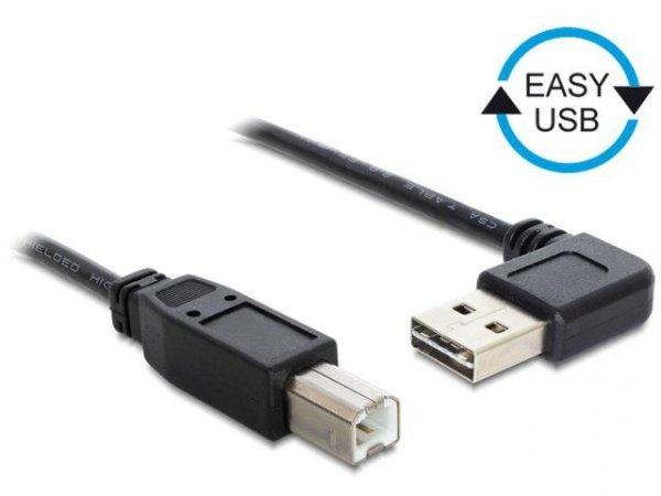 Kabel USB 2.0 Delock A(M) - B(M) 0,5m czarny kątowy lewo/prawo Easy-USB