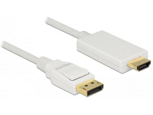 Kabel adapter Delock DisplayPort v1.2A - HDMI M/M 2m 4K biały