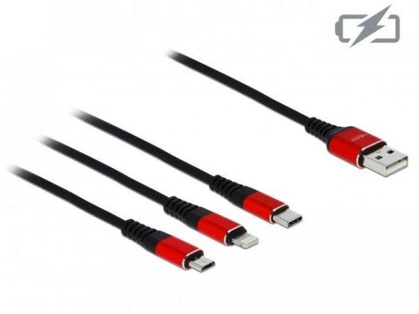 Kabel USB 2.0 Delock USB-A - micro USB-B + Lightning + USB-C tylko ładowanie M/M 0,3m czarno-czerwony