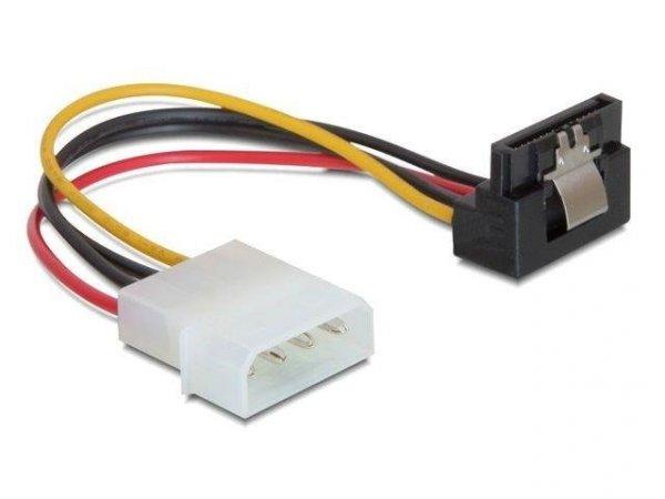 """Kabel zasilający SATA Delock Molex 4-pin (M) -> SATA 15-pin (F) metalowy zatrzask kątowy 90"""" dół 0,15m"""