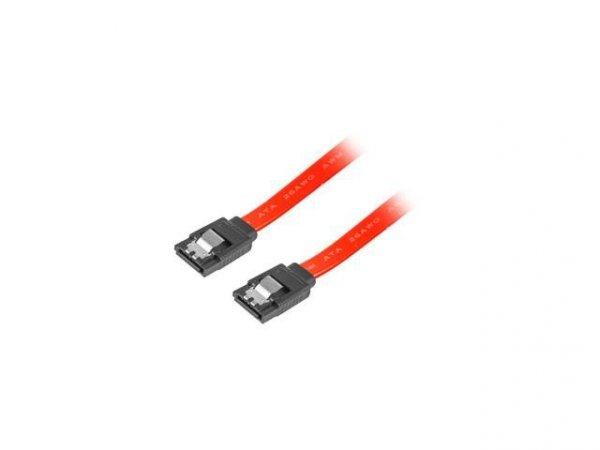 Kabel SATA Lanberg DATA III (6Gb/s) F/F 0,3m metalowe zatrzaski czerwony